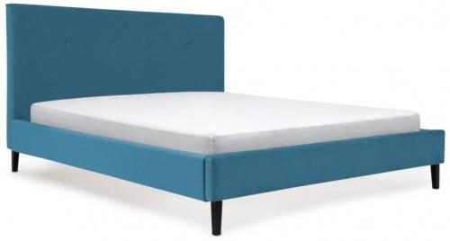 Modrá posteľ s čiernymi nohami Vivonita Kent, 140 × 200 cm