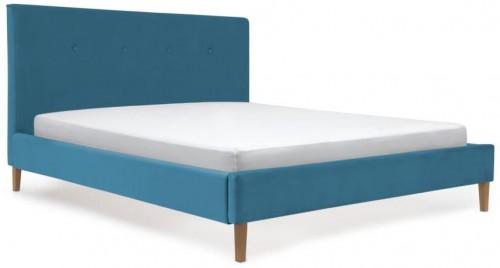 Modrá posteľ s prírodnými nohami Vivonita Kent, 140 × 200 cm