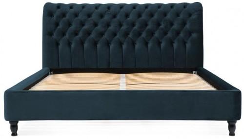 Námornícky modrá posteľ z bukového dreva s čiernymi nohami Vivonita Allon, 140 × 200 cm