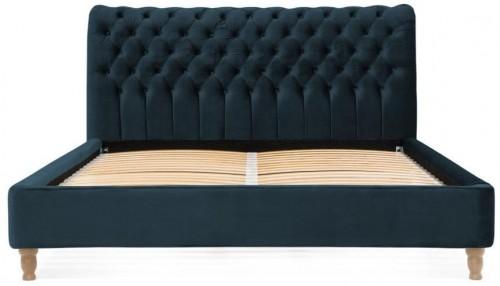 Námornícky modrá posteľ z bukového dreva Vivonita Allon, 140 × 200 cm