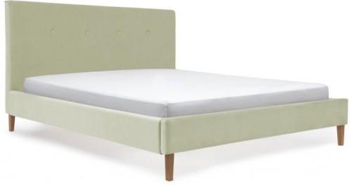 Pastelovozelená posteľ s prírodnými nohami Vivonita Kent, 180 × 200 cm