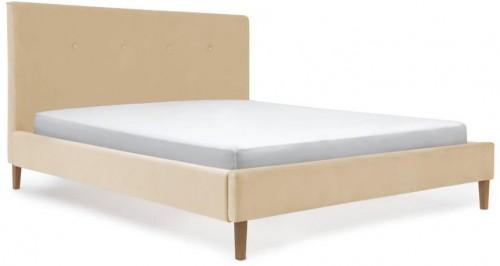 Pieskovohnedá posteľ s prírodnými nohami Vivonita Kent, 140 × 200 cm