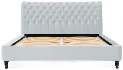 Sivomodrá posteľ z bukového dreva s čiernymi nohami Vivonita Allon, 160 × 200 cm