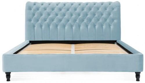 Svetlomodrá posteľ z bukového dreva s čiernymi nohami Vivonita Allon, 160 × 200 cm