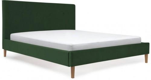Tmavozelená posteľ s prírodnými nohami Vivonita Kent, 160×200cm
