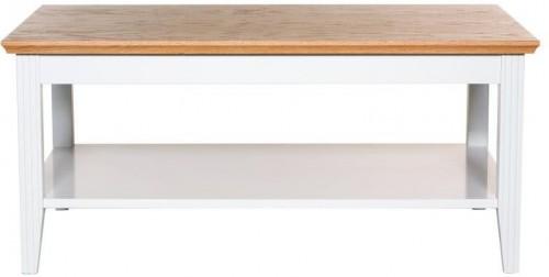 Biely konferenčný stolík s detailmi z dubovej dyhy We47 Family, 100 × 65 cm