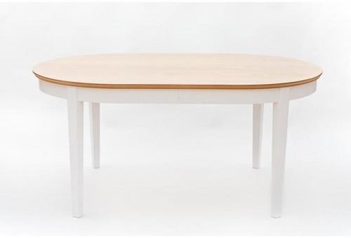 Biely rozkladací jedálenský stôl s detailmi z dubovej dyhy We47 Family, 165 - 215 × 105 cm