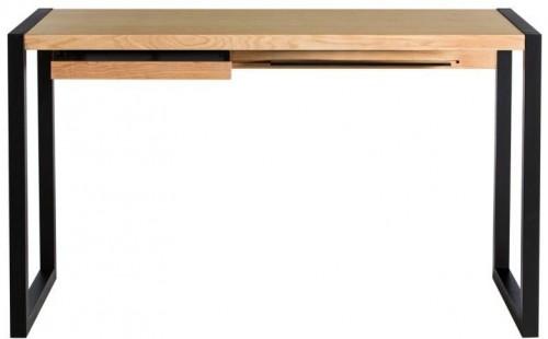 Pracovný stôl v dubovom dekore s čiernymi nohami We47 Renfrew, 126 × 55 cm