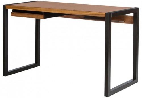 Pracovný stôl v orechovom dekore s čiernymi nohami We47 Renfrew, 126 × 55 cm