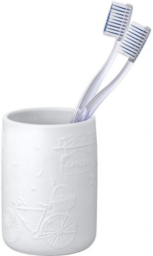 Biely keramický pohárik na kefky Wenko Garden