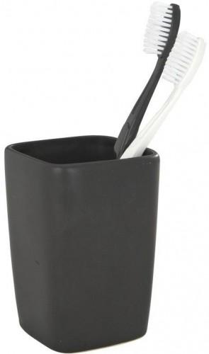 Čierny pohárik na zubné kefky Wenko Faro