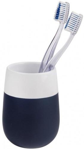 Modro-biely keramický pohárik na zubné kefky Wenko Matta