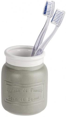 Sivo-biely keramický pohárik na zubné kefky Wenko Maison
