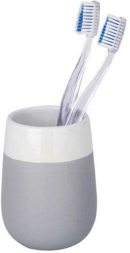 Sivo-biely keramický pohárik na zubné kefky Wenko Matta
