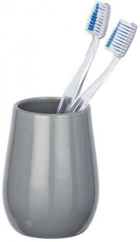 Sivý keramický pohárik na zubné kefky Wenko Sydney