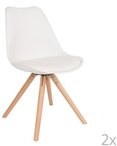 Sada 2 bielych stoličiek s bukovým podnožím White Label Tryck