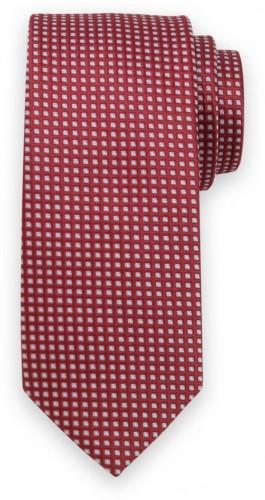 Klasická kravata bordovej farby s kockovaným vzorom 11553