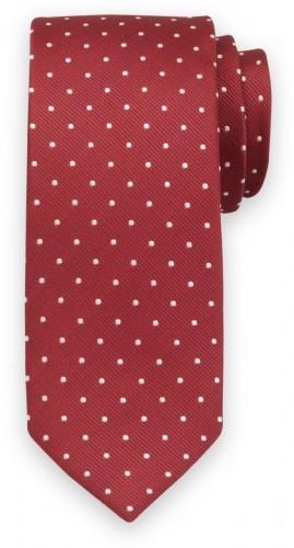 Klasická kravata červenej farby s bielym vzorom 11547