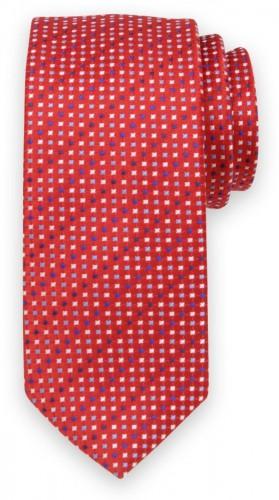 Klasická kravata červenej farby s jemným vzorom 11552