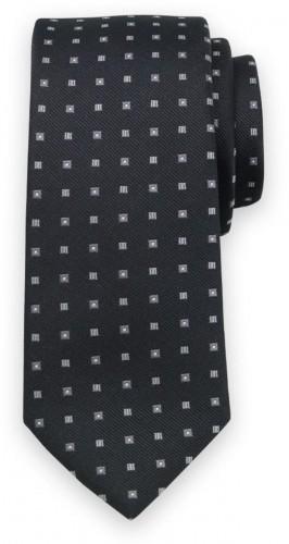 Klasická kravata čiernej farby s jemným sivým vzorom 11569