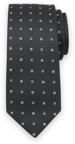 Klasická kravata čiernej farby so sivým kockovaným vzorom 11570