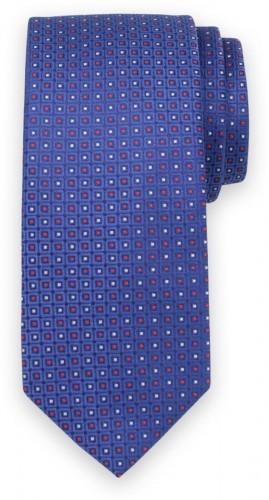 Klasická kravata modrej farby s kockovaným vzorom 11554