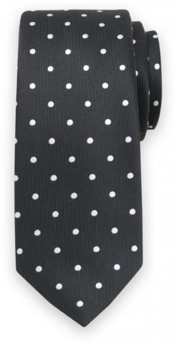 Klasická kravata s bielym bodkovaným vzorom 11562