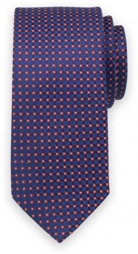 Klasická kravata s červeným kockovaným vzorom 11557
