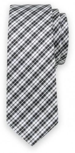 Klasická kravata s čierno-bielym károvaným vzorom 11551