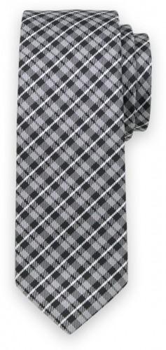 Klasická kravata s čierno-sivým károvaným vzorom 11550