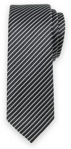 Klasická kravata s čierno-strieborným pruhovaným vzorom 11558
