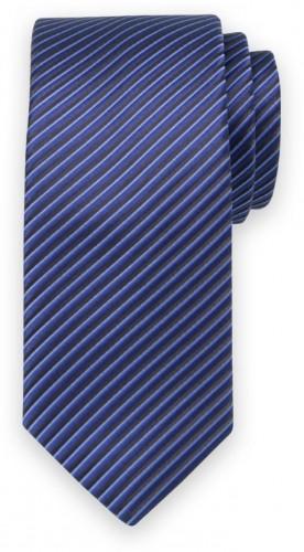 Klasická kravata s čiernym pruhovaným vzorom 11545