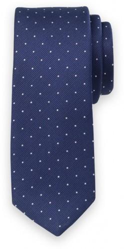Klasická kravata s jemným bielym bodkovaným vzorom 11565