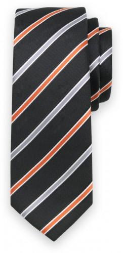 Klasická kravata s oranžovým a strieborným vzorom 11555