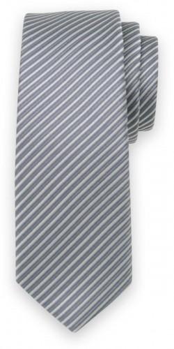 Klasická kravata s tmavo sivým pruhovaným vzorom 11544