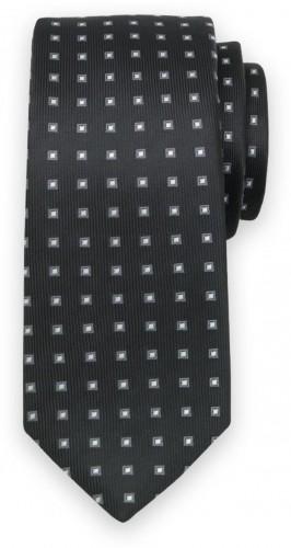Klasická kravata so sivo-bielym kockovaným vzorom 11563