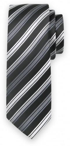 Klasická kravata so strieborno-sivým pruhovaným vzorom 11548