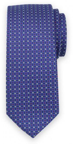 Klasická kravata tmavo modrej farby s jemným vzorom 11567