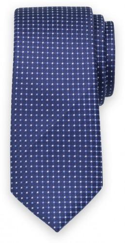 Klasická kravata tmavo modrej farby s kockovaným vzorom 11568