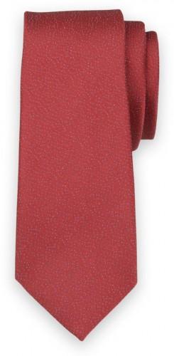 Úzka kravata červenej farby s modrým bodkovaným vzorom 11136