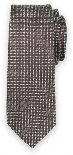 Úzka kravata hnedej farby s bodkovaným vzorom 11133