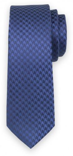 Úzka kravata modrej farby s tmavo modrým vzorom 11135