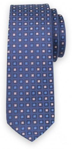 Úzka kravata s modrou a ružovou kockovanou potlačou 11137