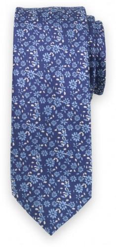 Úzka kravata tmavo modrej farby s kvetinovým vzorom 11134