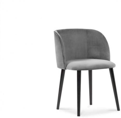 Sivá jedálenská stolička so zamatovým poťahom Windsor & Co Sofas Aurora