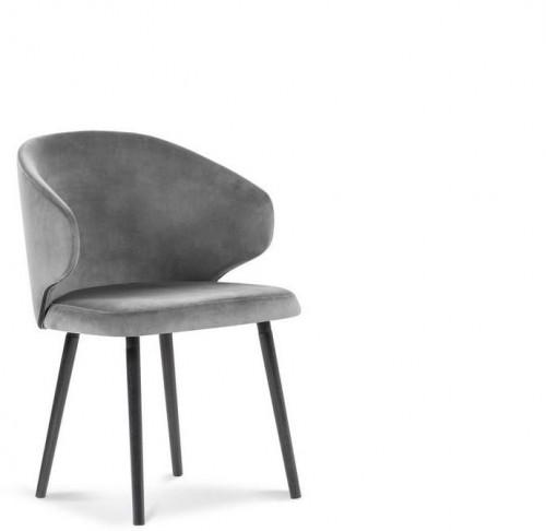 Sivá jedálenská stolička so zamatovým poťahom Windsor & Co Sofas Nemesis