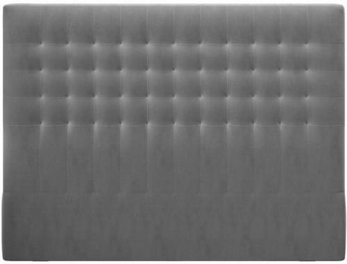 Sivé čelo postele so zamatovým poťahom Windsor & Co Sofas Apollo, 140×120 cm