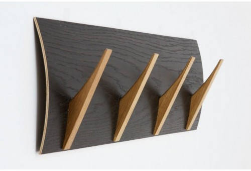 Nástenný vešiak z masívneho dreva Woodman Rack Naki Black Oak Large