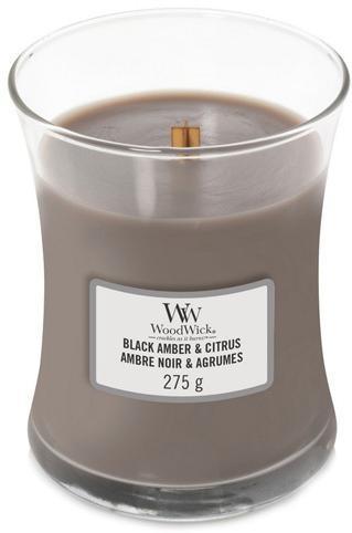 WoodWick Vonná sviečka váza Black Amber & Citrus 275 g - ZĽAVA - vzduchové bubliny vo vosku