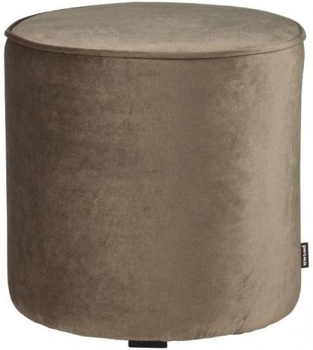 Zamatový olivovozelený puf WOOOD Sara, ⌀ 46 cm